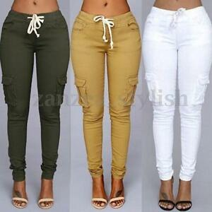 AU-Womens-High-Waisted-Drawstring-Long-Skinny-Pencil-Stretch-Fit-Pants-Trousers