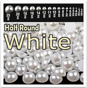 White Half Round Flatback Pearls All sizes 2mm to 25mm nail art imitation peal