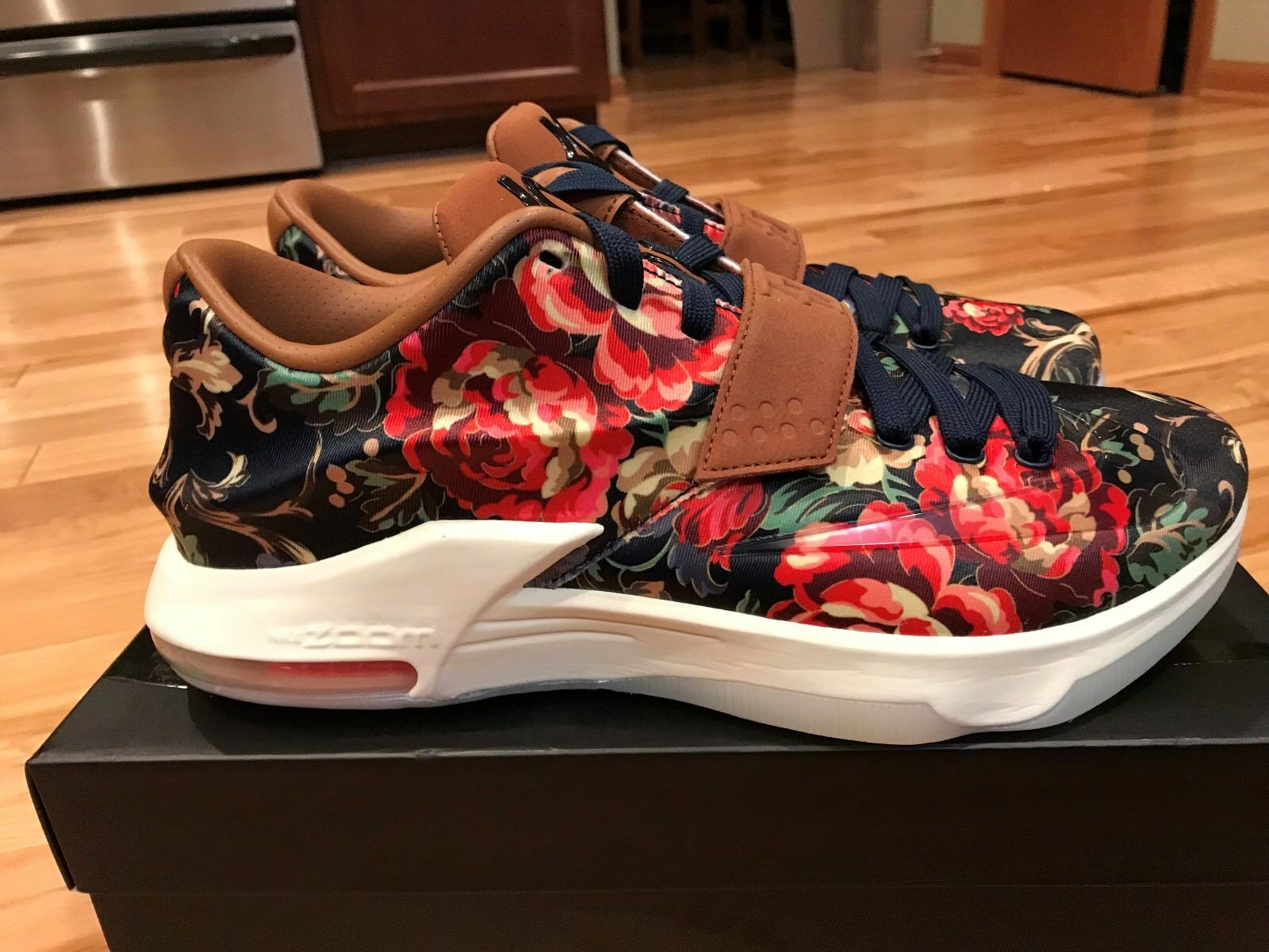 NIKE KD VII EXT FLORAL QS MIDNIGHT NAVY/BLACK-HAZELNUT 726438-400 SIZE 10