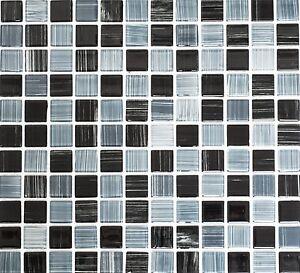 Dettagli su Mosaico piastrella vetro nero/grigio striscia muro cucina:  64-0302_b | 1 foglio