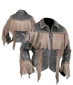 Veste Western Amérindien Frange Véritable os En 717689384559 De Vachette Perles Cuir Femmes nE1Zxvw1