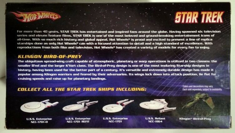 Star Trek Trek Trek Bird-of-Prey Klingon astronave die cast Hot Wheels Mattel RARA 2009 5914e7