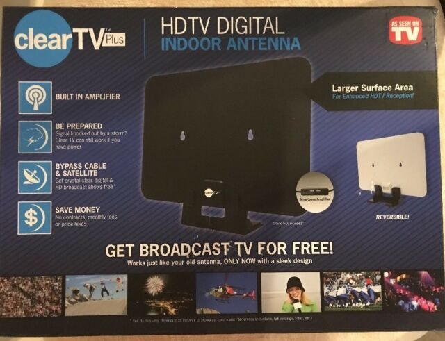 Clear Tv Plus HDTV Digital Indoor Antenna As Seen On TV With Built In  Amplifier