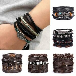 Multilayer-Leather-Bracelet-Handmade-Men-Women-Adjustable-Wristband-Bangle-New