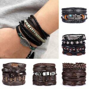 Multilayer-Leather-Bracelet-Handmade-Men-Women-Adjustable-Wristband-Bangle-New