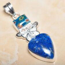 "Handmade Pyrite Lapis Lazuli Jasper 925 Sterling Silver 2.5"" Pendant #P11132"