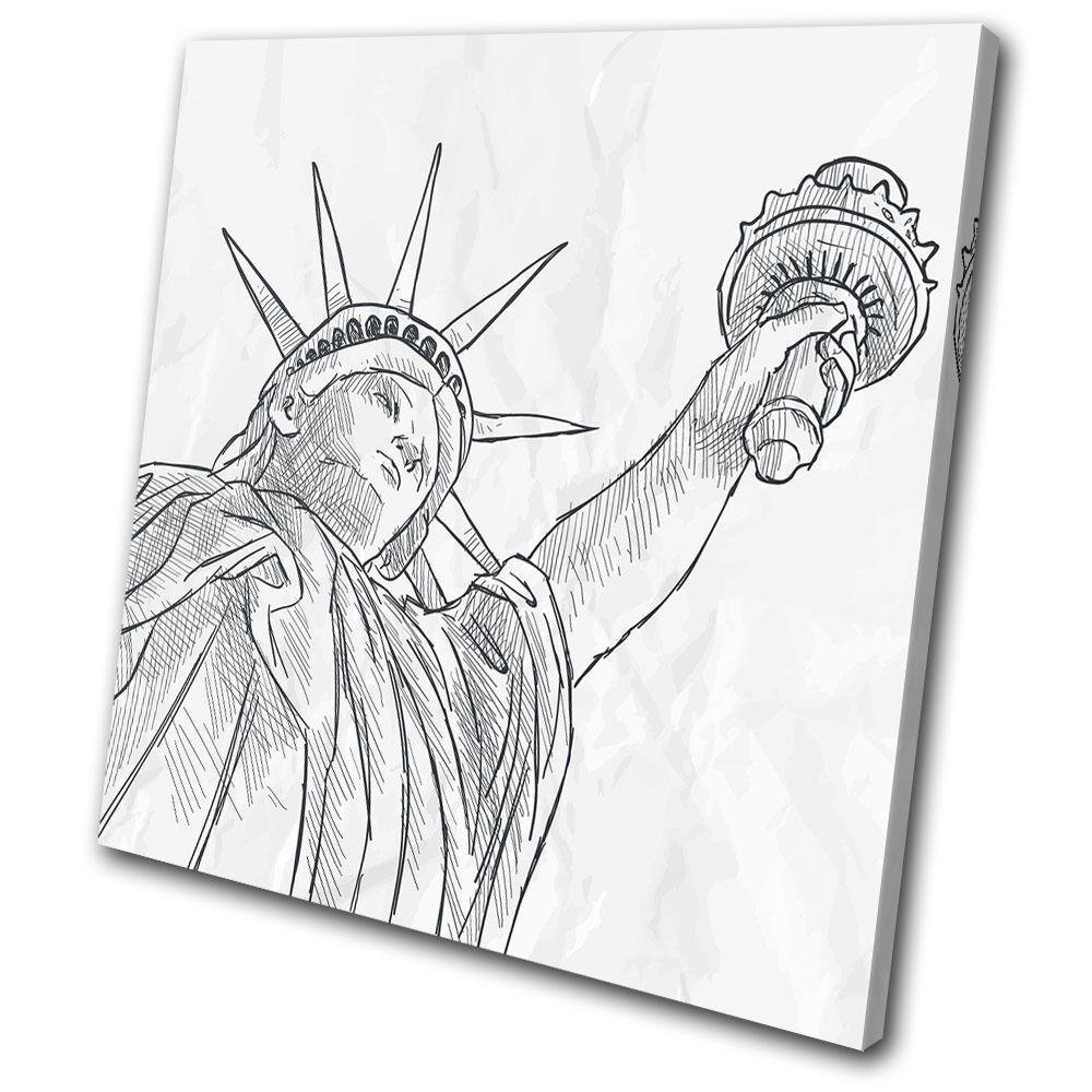 New York NYC Liberty Sketch Illustration SINGLE TOILE murale ART Photo Print