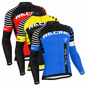 Details about FDX Mens Blaze Cycling Jersey Full Sleeve Thermal Fleece Team Racing Cycling Top