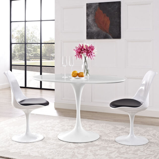 Modway Lippa Oval Shaped Wood Top Dining Table 48 White For Sale