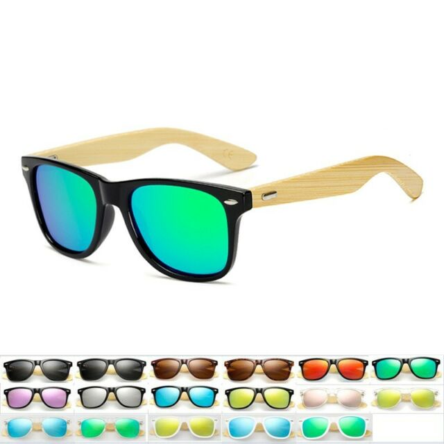 Vintage Men Women Bamboo Sunglasses Polarized Wooden Temple Wood Blue+Greenish
