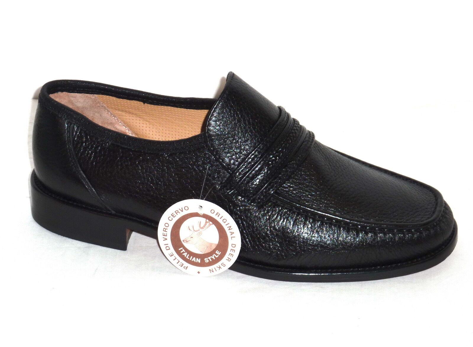 U4208H MELLUSO chaussures hommes MOCASSINI PELLE CERVO noir MODA COMODA n. 40