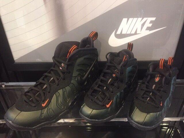 Nike Air Foamposite Pro Sequoia Black Team Orange GS PS TD Infant Size 1c-7Y