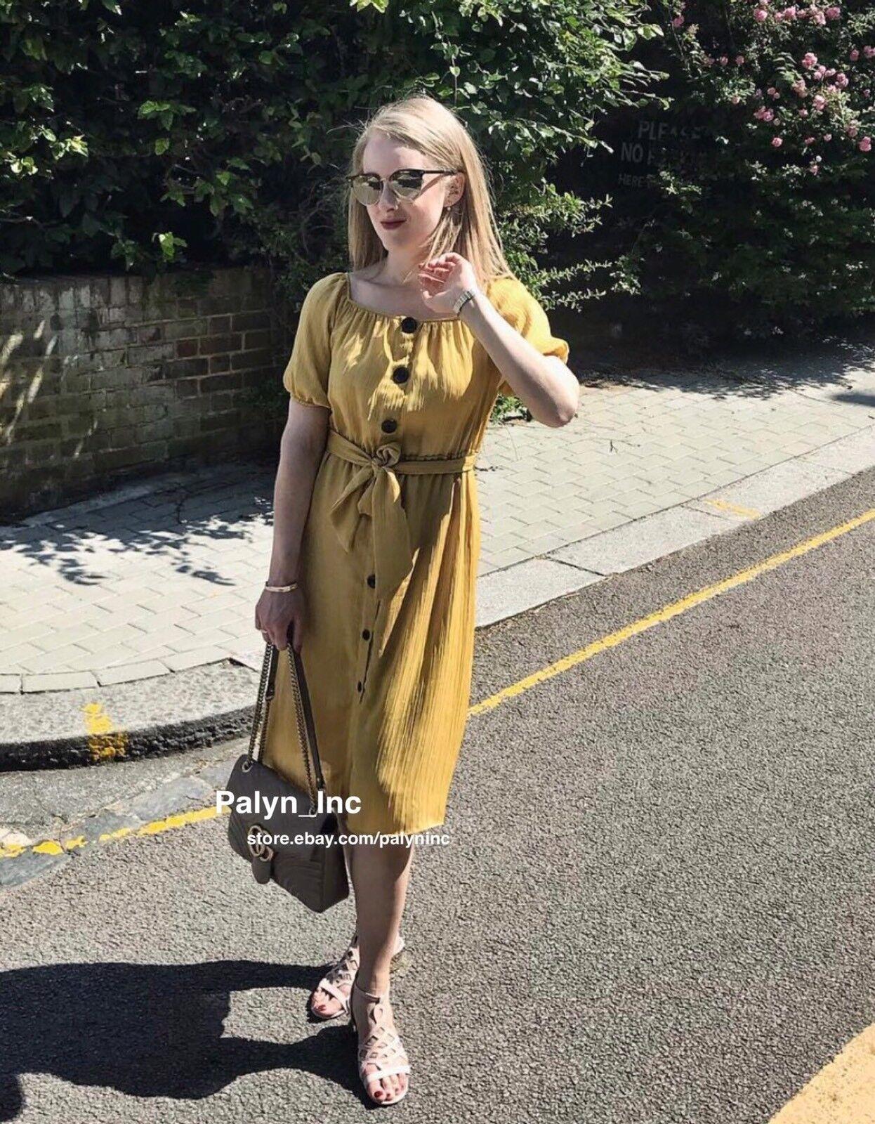 Nwt Zara Ss18 Senf Schulterfrei Knitteroptik Faltig Kleid 1639 099 _ Xs S M L