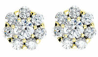 2.06 ct 14k Yellow Gold Cluster Stud Earrings Round cut DIAMONDS G-H color SI1