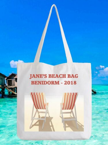 Personalised Beach Tote Bag  Add Name Place and Year Holiday Benidorm Spain