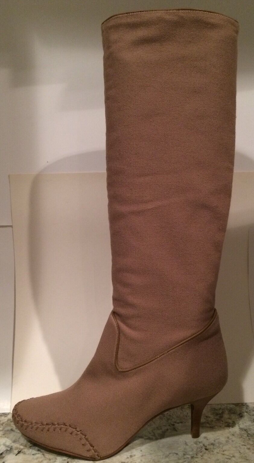 Max Azria Lexy Lexy Lexy Knee High Boots Leather Canvas Heels ( BCBG ) Taupe 39 8.5 Nice 6812fd