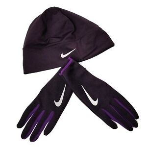 Nike Womens Gloves   Beanie Hat Ponytail Hole Purple Lightweight XS ... 38e8e88574d