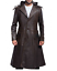 Assassin Creed Syndicate Quilted Brown Long Trench Leather Hoodie Coat