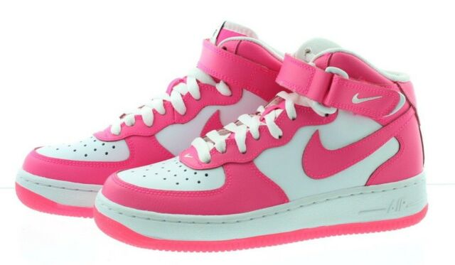 new style 93a52 72336 Nike Kids Air Force 1 Mid GS Shoes White Black HYPER Pink Size 7 for ...