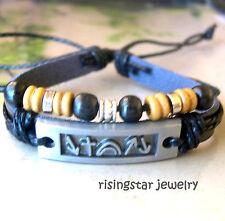 Men's Jesus Resurrection Metal Symbol Wood Beads Surfer Leather Bracelet
