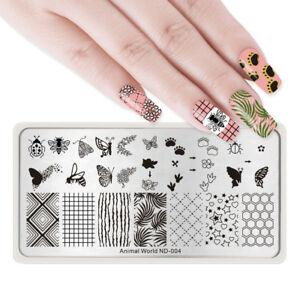 NICOLE-DIARY-Nail-Art-Stamping-Plates-Stamp-Templates-Butterfly-Bee-Geometry