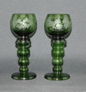 Theresienthal-2-x-Roemer-mundgeblasen-Beerennuppen-Hohlstiel-18-2-cm