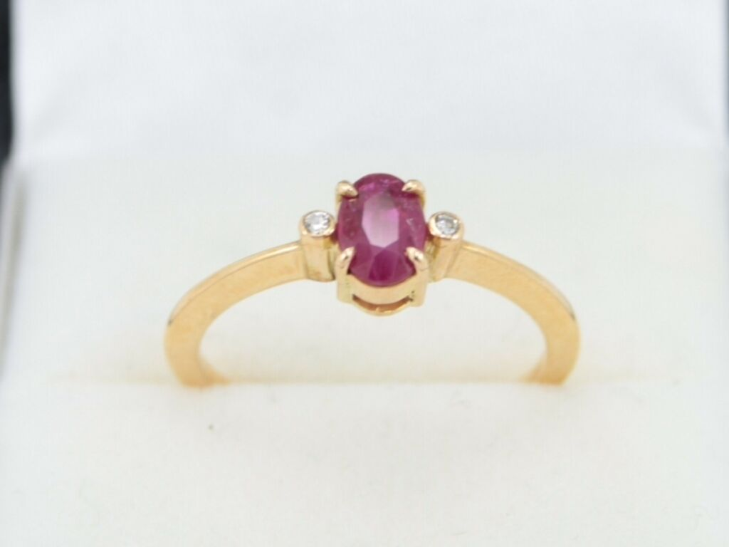 Diamond And Ruby Ring 18ct gold Ladies Size N 1 2 750 S49