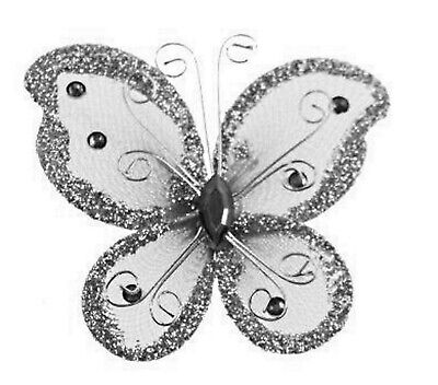 Lavender 2 Butterfly Hair Clips Barrettes Bow with Metal Clip