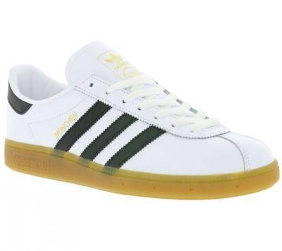 Adidas Originals Munchen White Leather Fashion Retro Trainers UK 3.5 - 13.5