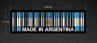 EURO  DUB 2 x MADE IN ARGENTINA BAR CODE Stickers//Decals with Black Background