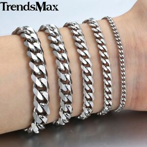 3-5-7-9-11mm-Mens-Cuban-Curb-Stainless-Steel-Bracelet-Chain-Silver-Gold-8-034-10-034