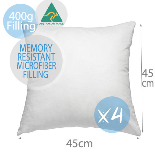 4x Aus Made Memory Resistant Microfibre Cushion Inserts Polyester Pillow 45x45CM