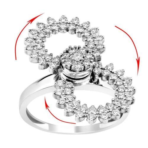 women lady 925 silver motion spinner spinnig ring mouvement flower design zirkon