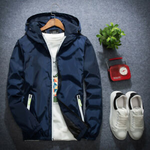 Overcoat-Plus-Size-Men-039-s-Casual-Hooded-Jacket-Windbreaker-Sport-Loose-Coat-Tops