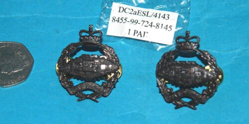 ROYAL TANK REGIMENT GENUINE /& ORIGINAL RTR OFFICERS PAIR OF COLLAR INSIGNIA NEW