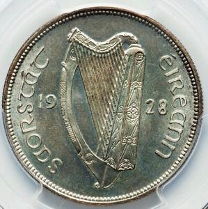 Irish-Free-State-Proof-1-2-Crown-1928-PR64-PCGS-FIRST-YEAR-TYPE-NEAR-GEM