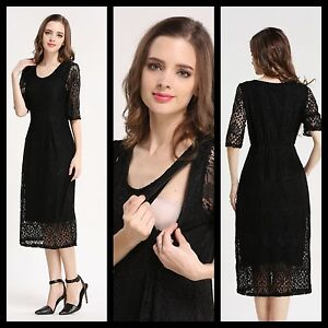 a0b9e8d42813f Image is loading NEW-BNWT-BLACK-LACE-MATERNITY-BREASTFEEDING-NURSING-DRESS-
