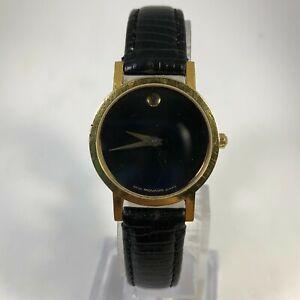 Movado Womens Museum 87-A1-832 Swiss Made Black Leather Band Quartz Analog Watch