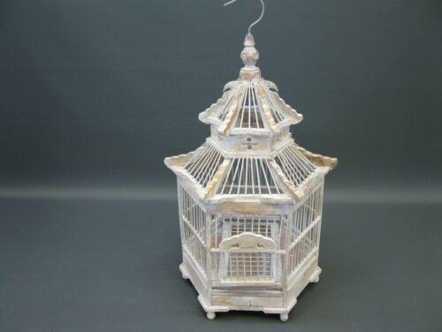 Holz Bambus asiatischer Vogelkäfig  Käfig Voliere  Kunsthandwerk Vogelhaus 50cm