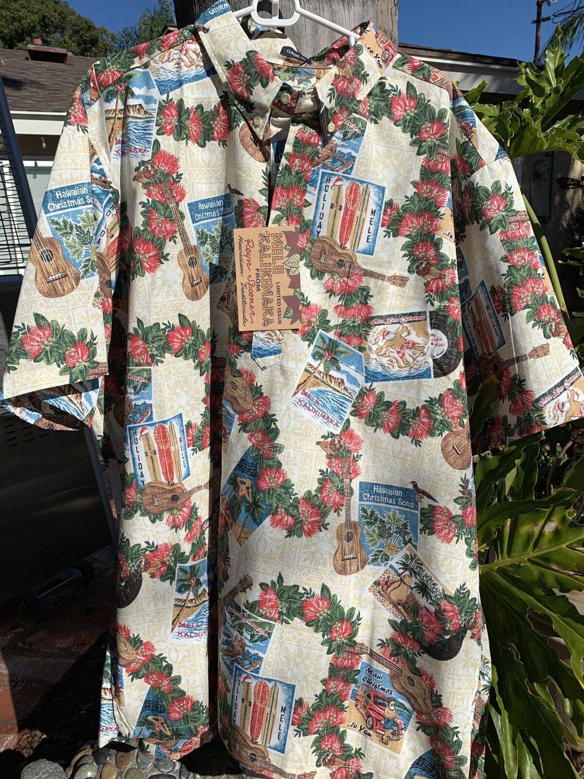 NWT Reyn Spooner 2017 Mele Kalikimaka Christmas Shirt 3XL Santa Holiday Cream