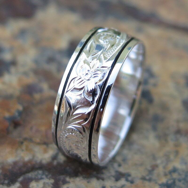 Hawaiian Sterling Silver Scroll Black Border Flower Wedding Ring Band 8mm Sr1166