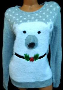 Love-by-design-gray-white-polar-bear-fur-balls-women-039-s-ugly-christmas-sweater-2X