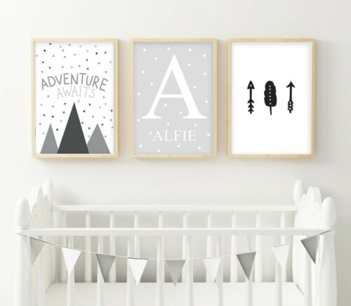 3 Personalised Adventure Prints Mountain Arrow Nursery Wall Art Boys Room