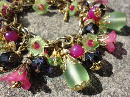 DIVA DELIGHT Chunky Charm Bracelet Crystal w M Haskell Chain Green Frost Glass