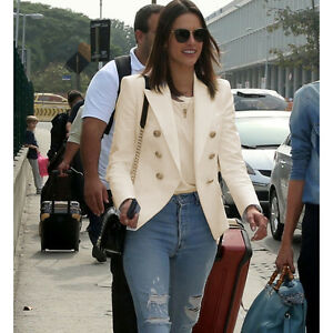 Star-Style-Designer-Blazer-Women-039-s-Gold-Buttons-Double-Breasted-Blazer-jacket
