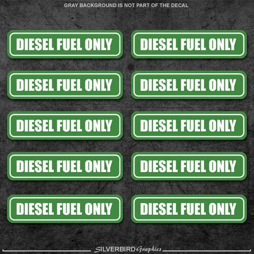 10x Diesel Fuel Only sticker door  gasoline gas decal label tank vinyl truck