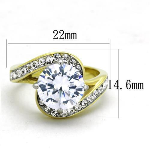 1911 3CT STAINLESS STEEL GOLD SIMULATED DIAMOND RING PRETTY CLEAR ENGAGEMENT