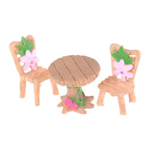 3Pcs Floral Table Chairs Miniature Landscape Fairy Garden Dollhouse DecorationPB