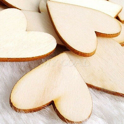 30pcs Wooden Wood Love Heart Pieces Unfinished Kids DIY Painting Party Craft Toy