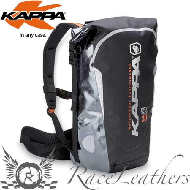 8f900b3a1a8 KAPPA WATERPROOF BLACK SILVER DRY PACK RUCKSACK MOTORCYCLE LUGGAGE 30 LITRE